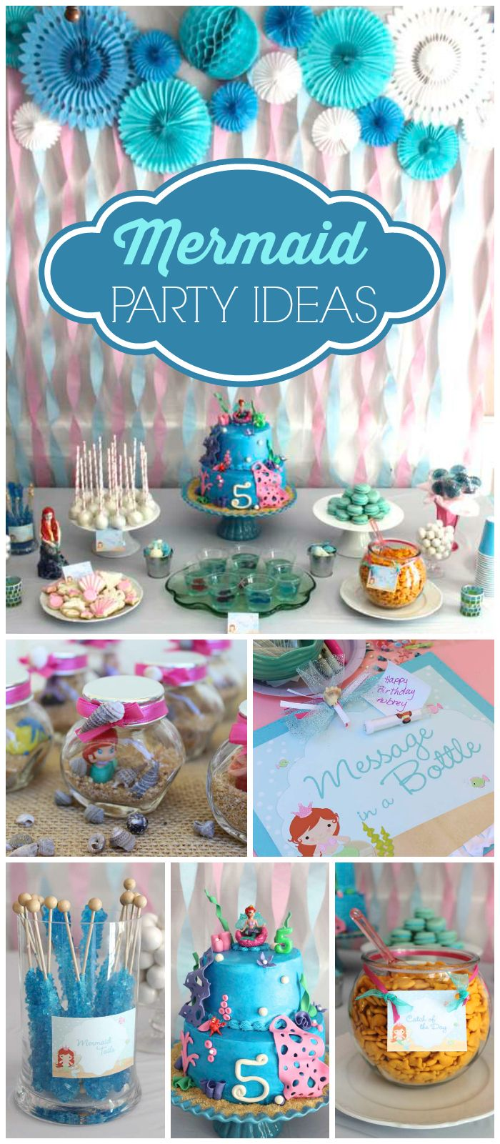 Such a fun whimsical mermaid girl birthday party! It has an ocean themed dessert table, food, games, and decor! See more party planning ideas at CatchMyParty.com!