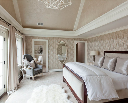 Example of tray ceiling in bedroom with vaulted ceiling. Yes or no on tray?