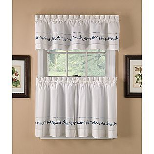 Valance Country Living Lace Embroidered Floral Blue Yellow Kitchen Curtains Kmart