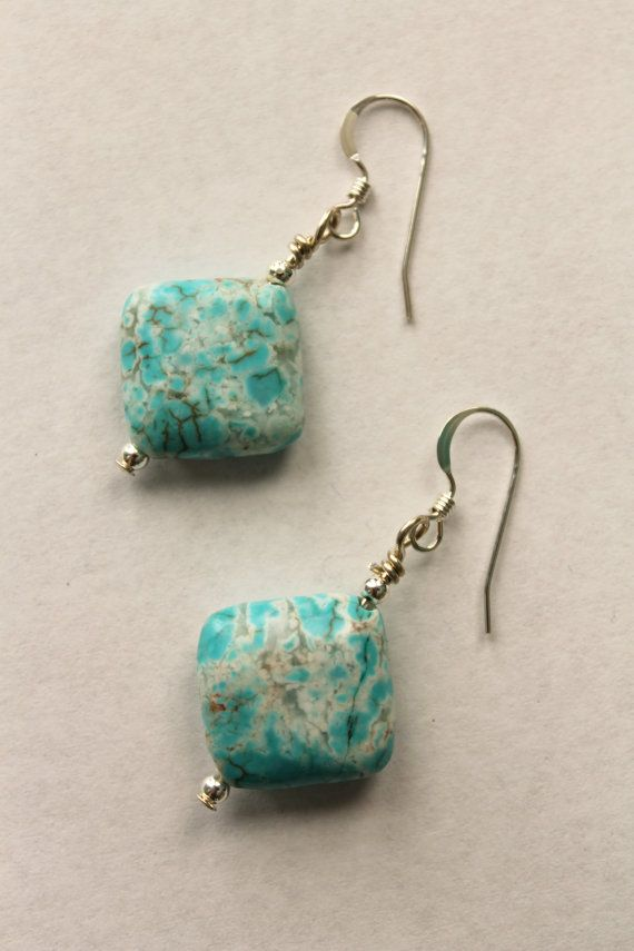 Turquoise Dyed Magnesite and Sterling Silver Dangle by KTSues