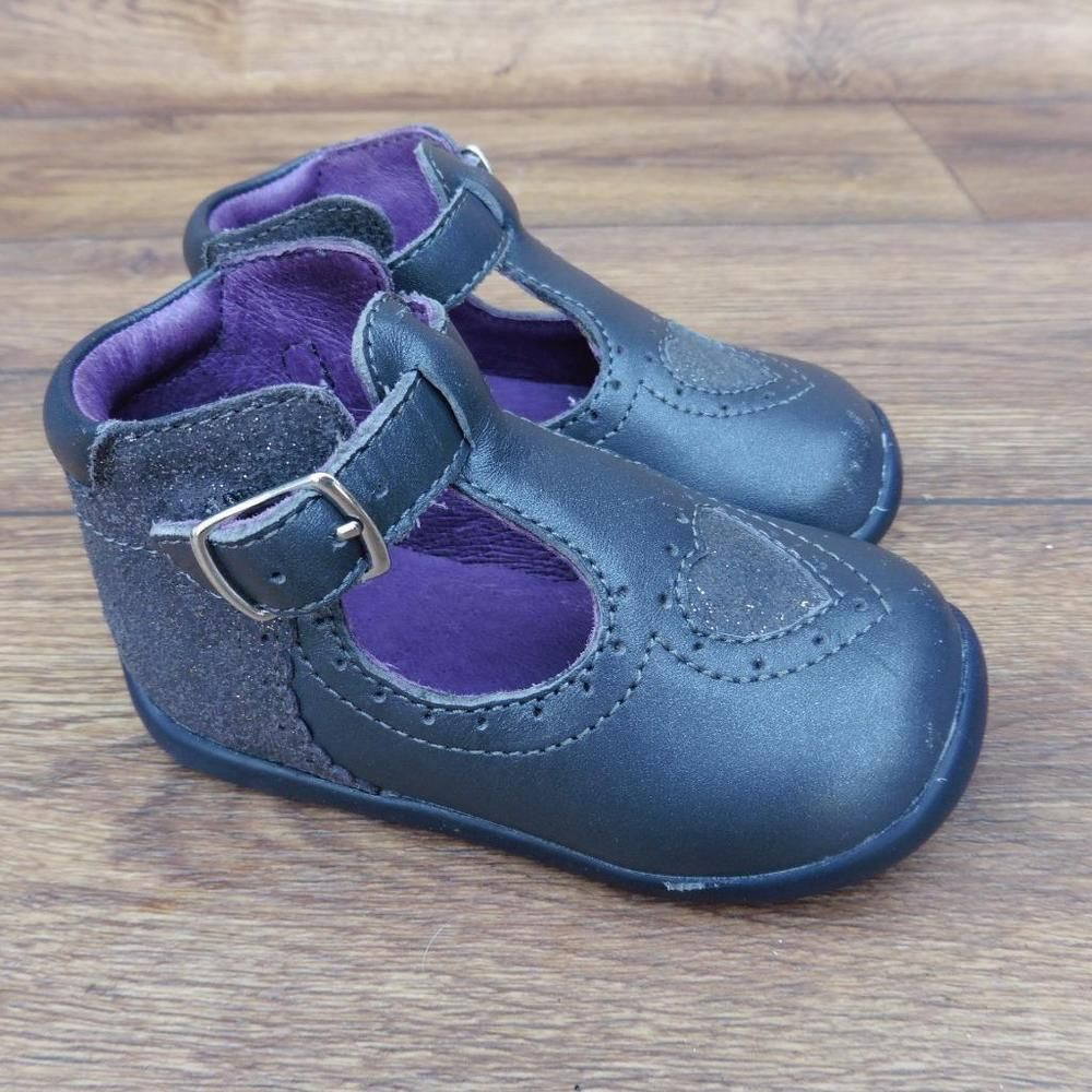 Details about SIZE UK 4 INFANTS VERTBAUDET GREY LEATHER BABY GIRLS ...