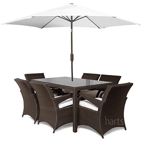Roe Gardens   Premium Rattan 6 Seat dining Set  Rectangular Table Stylish Patio  Garden Furniture  Brown With Parasol  Price. Roe Gardens   Premium Rattan 6 Seat dining Set  Rectangular 1 5m