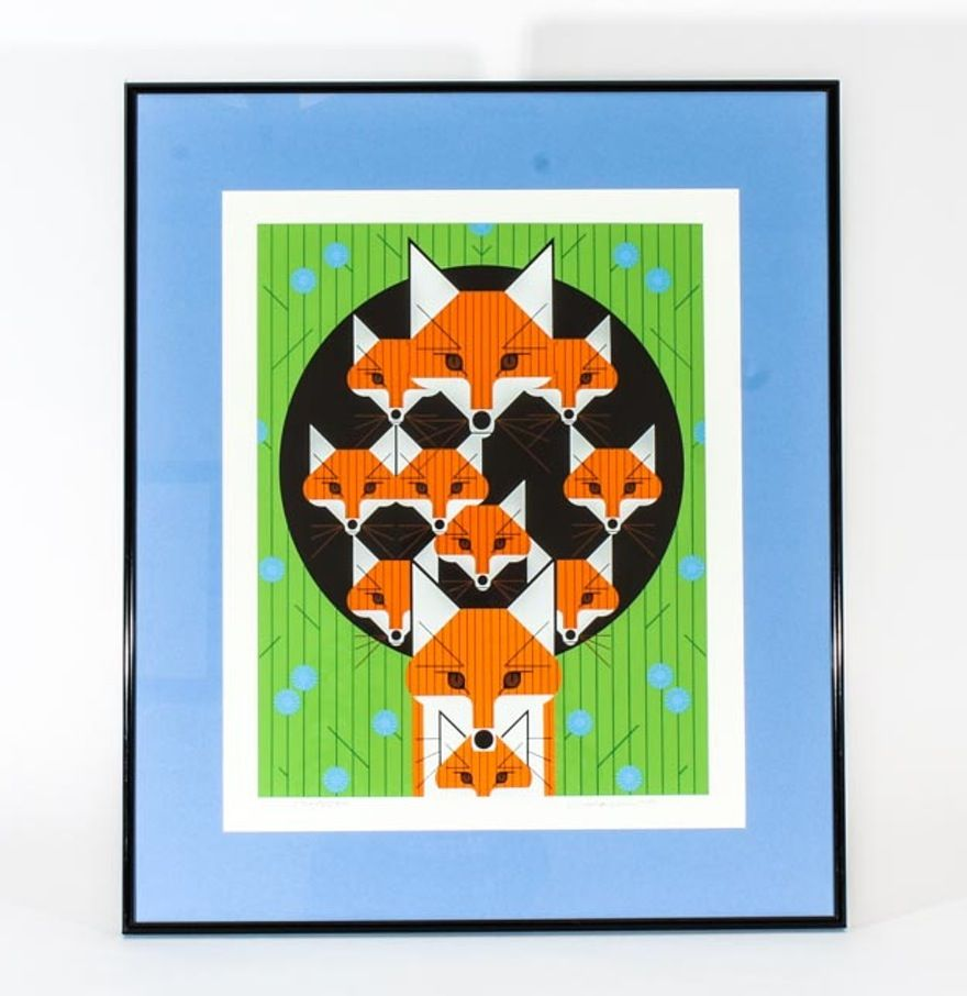 """Charley Harper Limited Edition Signed Serigraph """"Foxsimilies"""" : EBTH"""