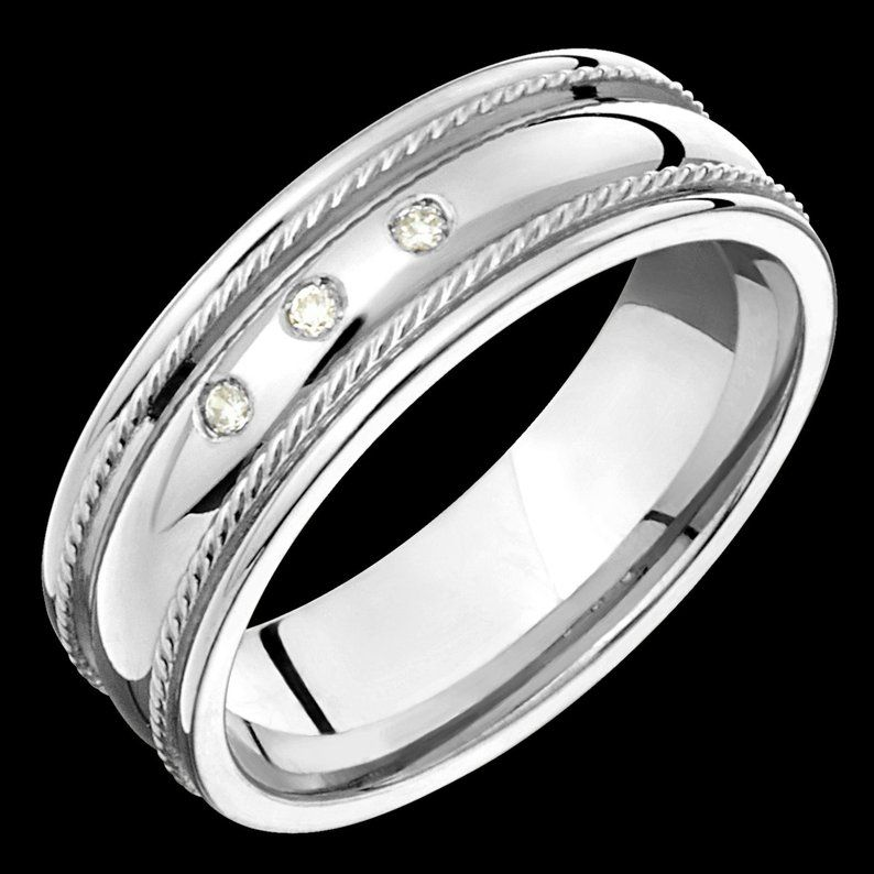 7mm wide comfort fit 10k white gold solid not plated men