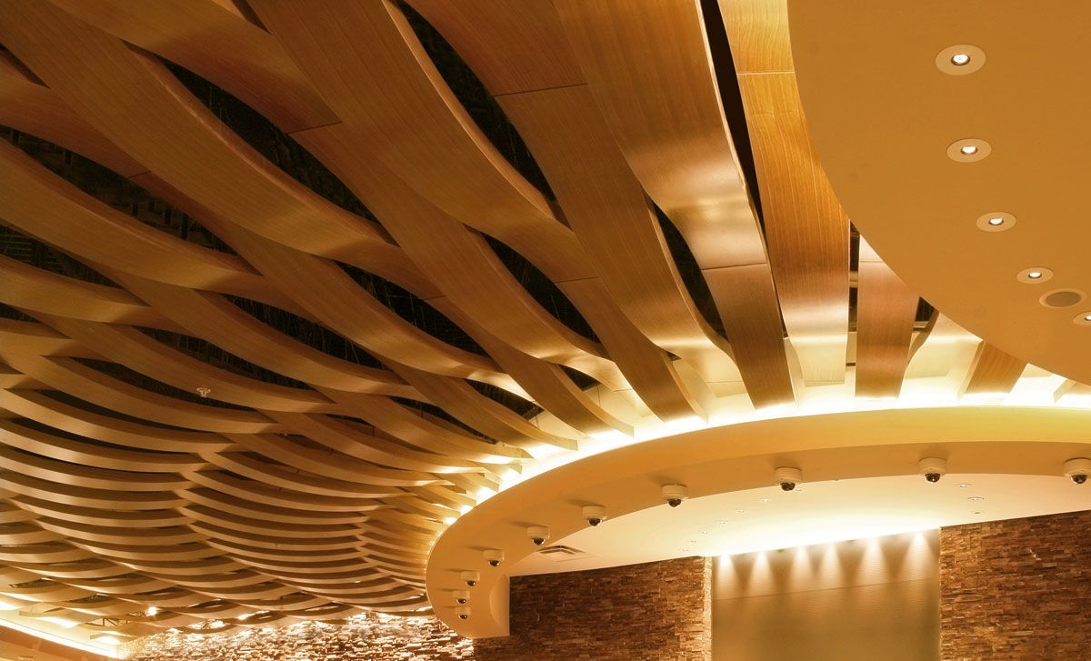 Acoustic Suspended Ceiling In Wood Tile Curved