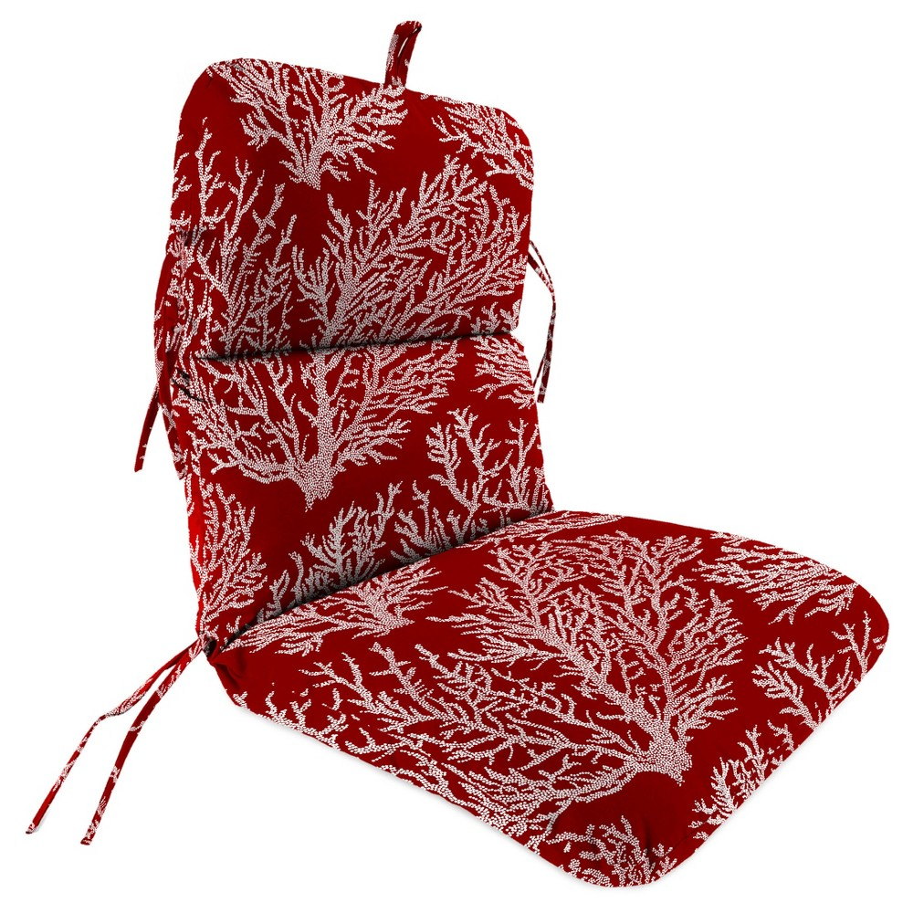 Outdoor Knife Edge Dining Chair Cushion In Seacoral Red