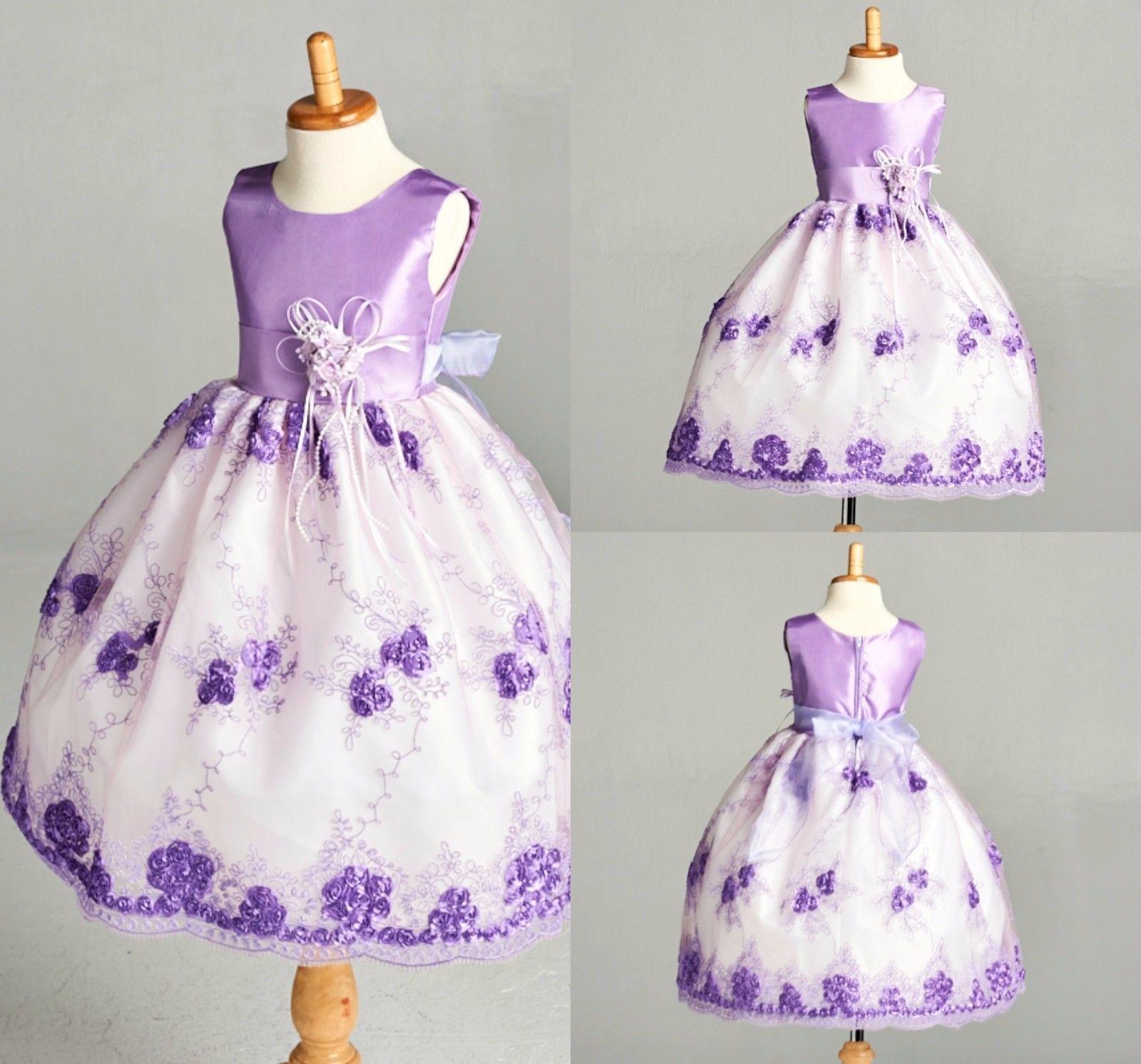 Wedding Flower Girl Bridesmaids Summer Easter Embroidery Girl Recital Dress #09