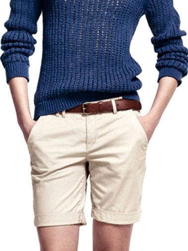 Crimping One-Button Solid Color Women's Short Cargo Pants Bottoms For Sale on buytrends.com