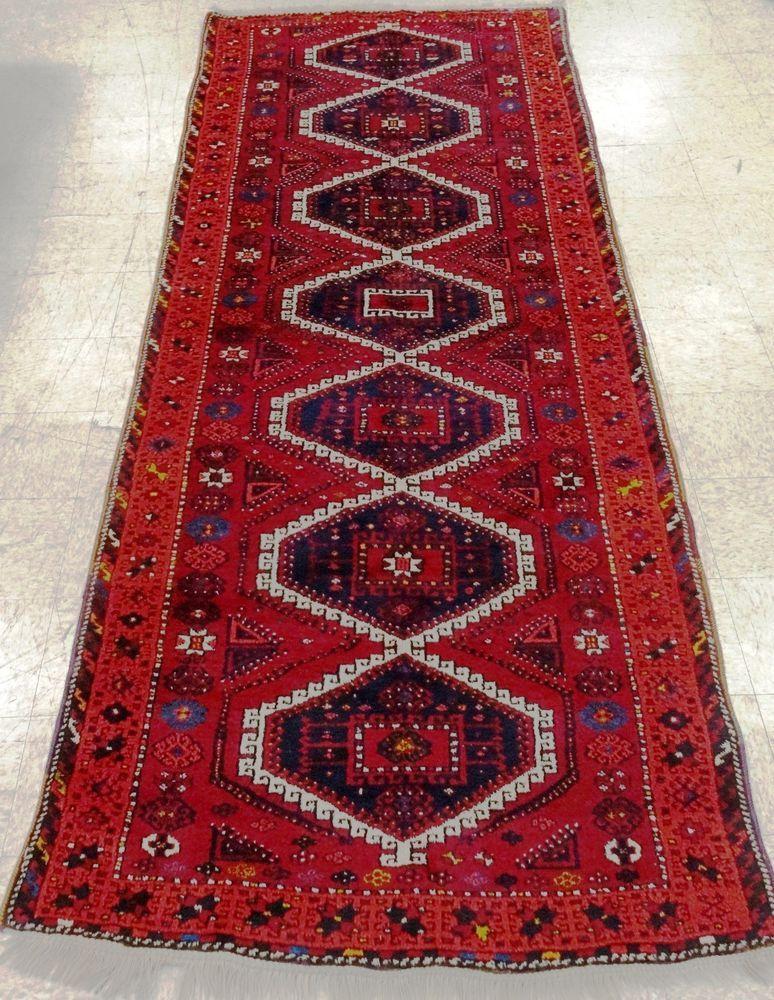 Kurdish Sirit Hand Knotted Wool Deep Red Vintage Oriental Rug