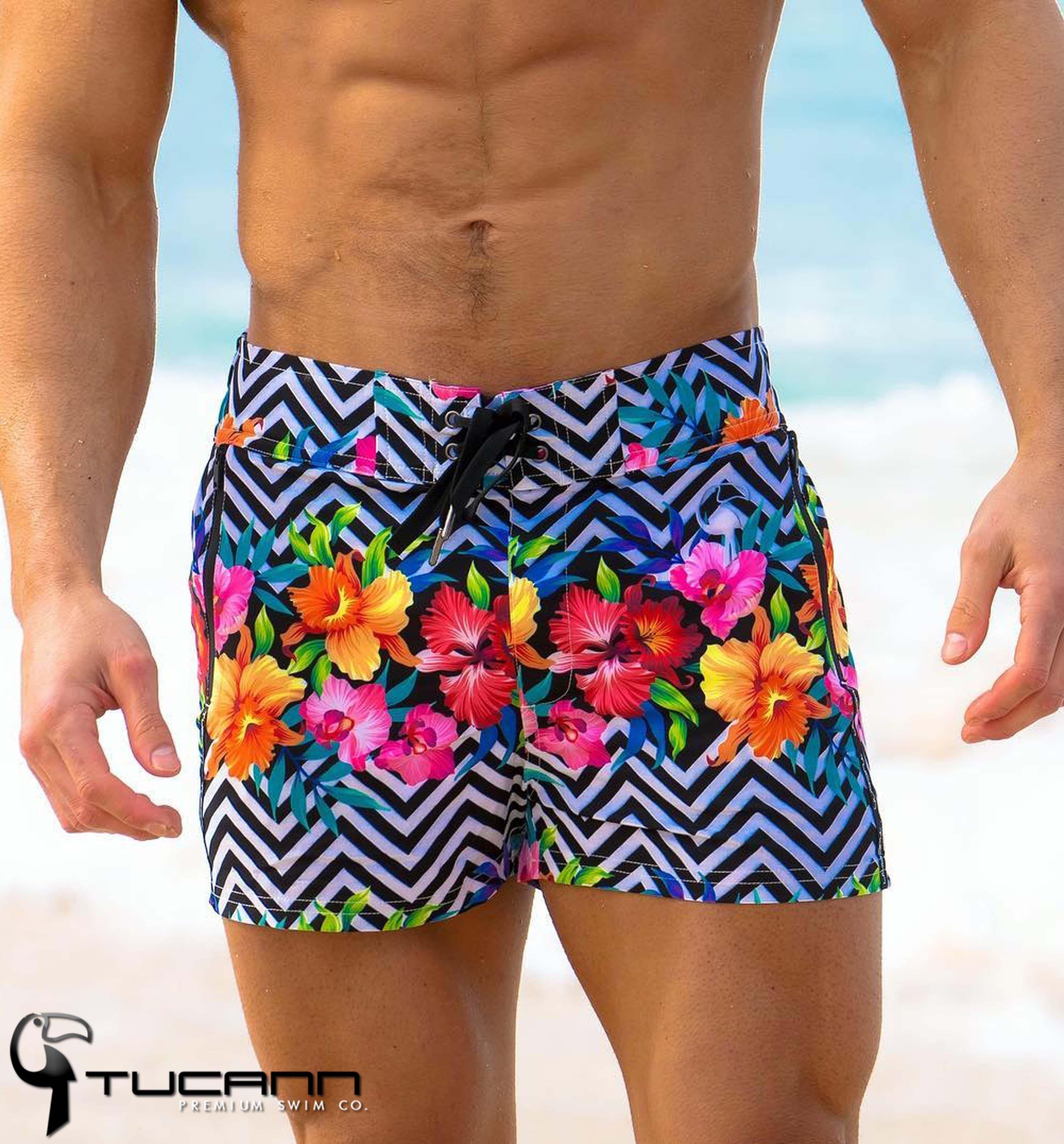 Tucann Mens Swim Trunks Beach Swimming Shorts Quick Dry Printed Bathing Suits Swimwear with Pockets