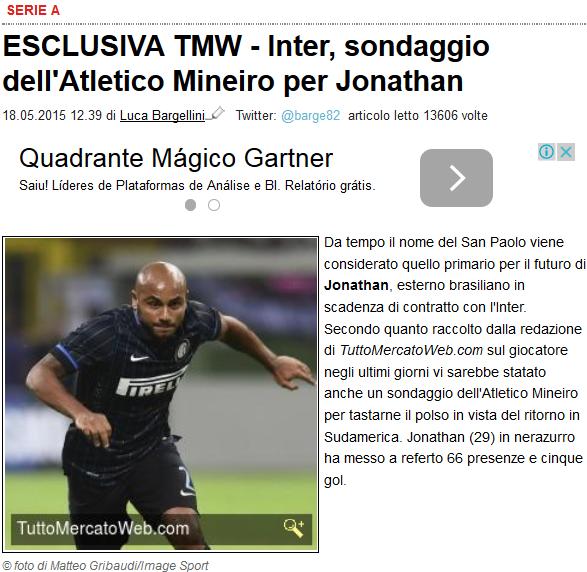Site italiano noticia interesse do Galo na contratação do lateral Jonathan #globoesporte