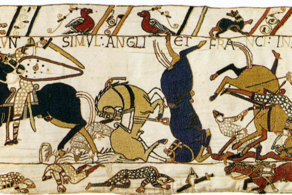 The Bayeux Tapestry Detail C 1080 Wool Embroidered On A Linen Background Musée De La Tapisserie De La Reine Ma Bayeaux Tapestry Bayeux Tapestry Art
