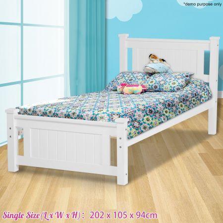 Kids White Wooden Bed Frame Single
