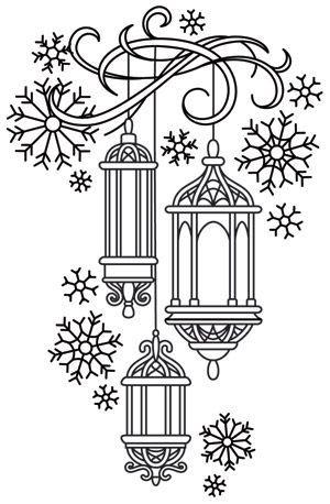 Lanternes imprimables Coloriage 5908 | Motifs de broderie de noël