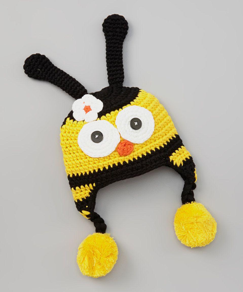 chéri by Bébé Oh La La Black & Yellow Bumblebee Earflap Beanie by chéri by Bébé Oh La La #zulily #zulilyfinds