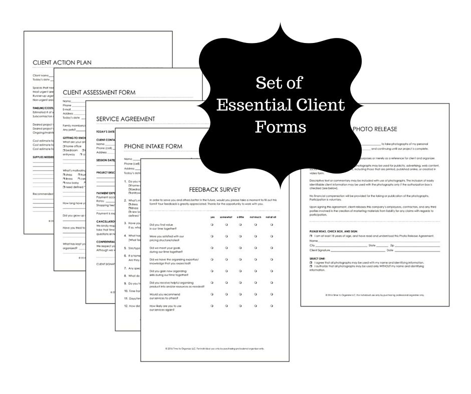 Client Forms for Professional Organizers Phone Intake Form - business non compete agreement