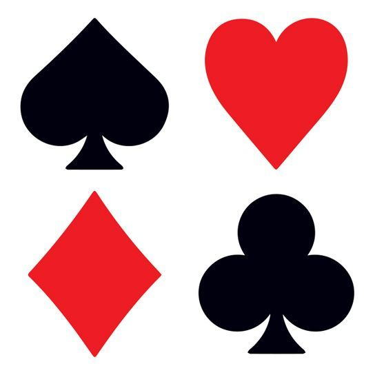Set Of The Four Deck Of Cards Symbols Temporary Tattoos Clubs