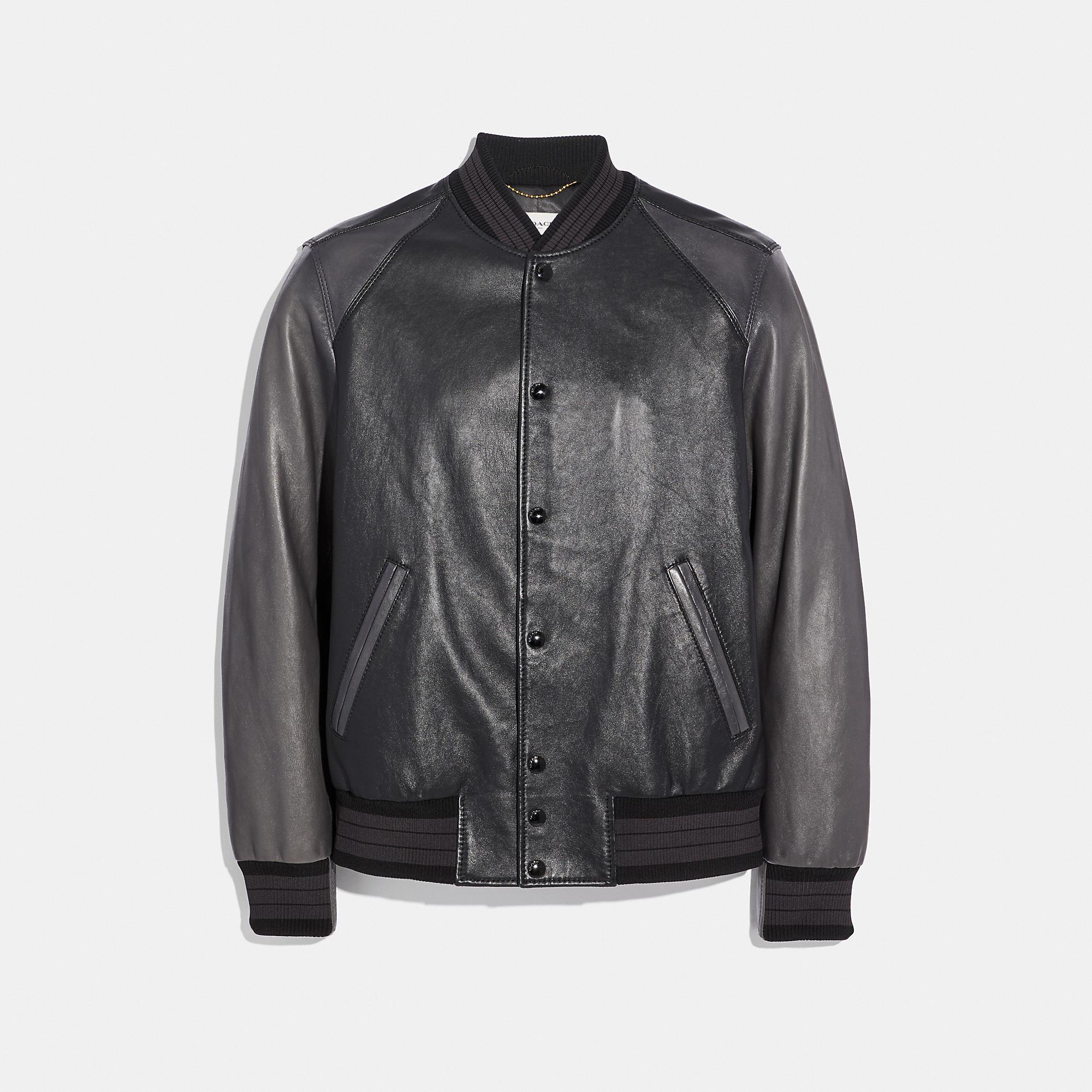 Coach Leather Varsity Jacket In Black Size 48 Modesens In 2020 Leather Varsity Jackets Fleece Varsity Jacket Varsity Jacket Outfit [ 2000 x 2000 Pixel ]