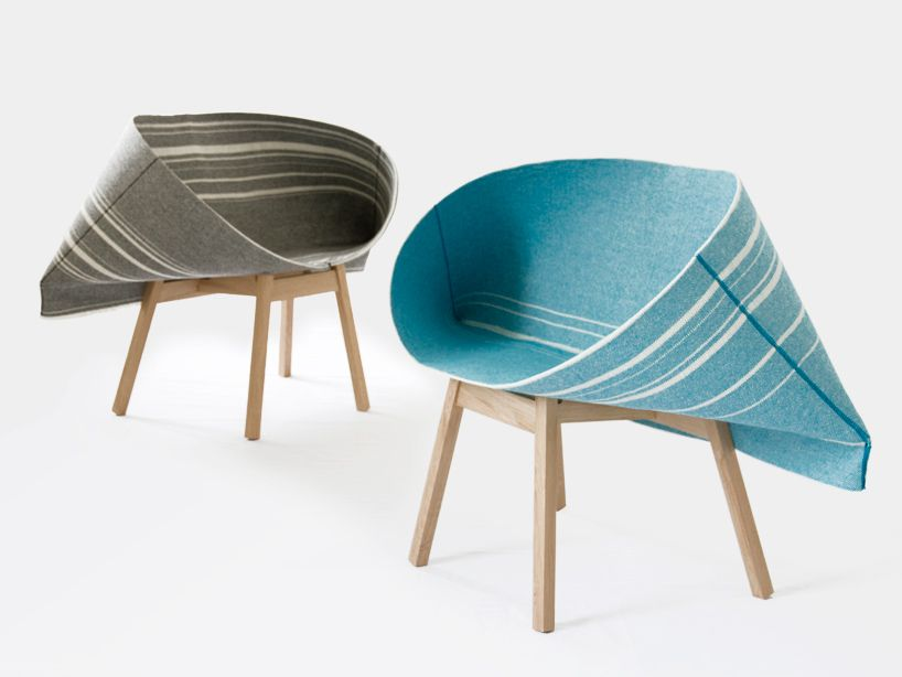Selvedge armchairs by London-based design studio Raw-Edges (Yael Mer and Shay Alkalay) for Kvadrat http://www.kvadrat.dk/ http://www.raw-edges.com/ #fabric #furniture #design