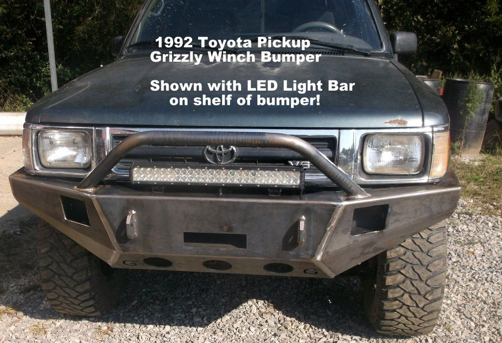 1989 1995 Toyota Pickup Truck Custom Front Winch Plate Bumper Cust Grizzly Custom Truck Jeep Front Winch Pl Truck Bumpers Toyota Pickup 4x4 Winch Bumpers