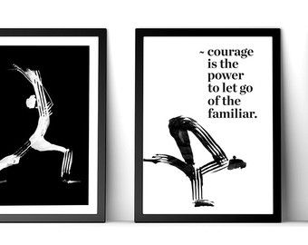 black and white modern yoga illustration print yoga mom