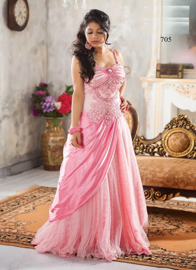 Pink Net Long Gown | Dinner Dress | Pinterest