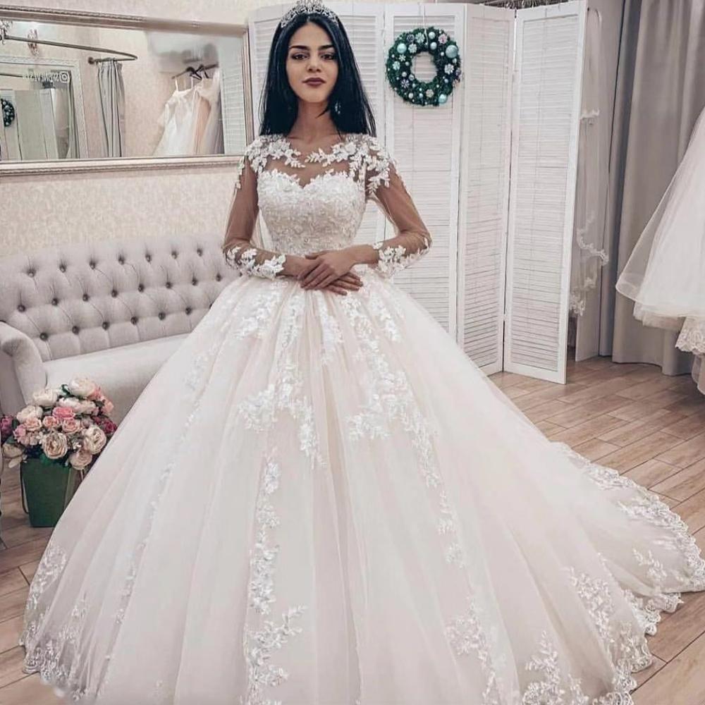 Ball Gown Wedding Dresses 2020 Crew Neckline Sheer Long Sleeve Lace Puffy Floor Length Bridal Dresses Vestidos De Noiva Ball Gowns Wedding Long Sleeve Ball Gown Wedding Dress Bridal Ball Gown [ 1000 x 1000 Pixel ]