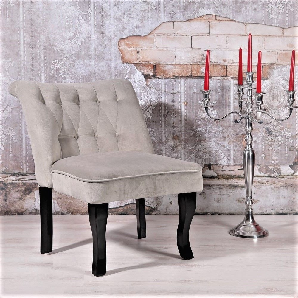 Grey Accent Chair Velvet French Seat Small Bedroom