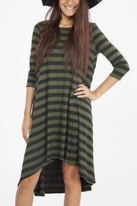 Forest Stripes Swing Dress