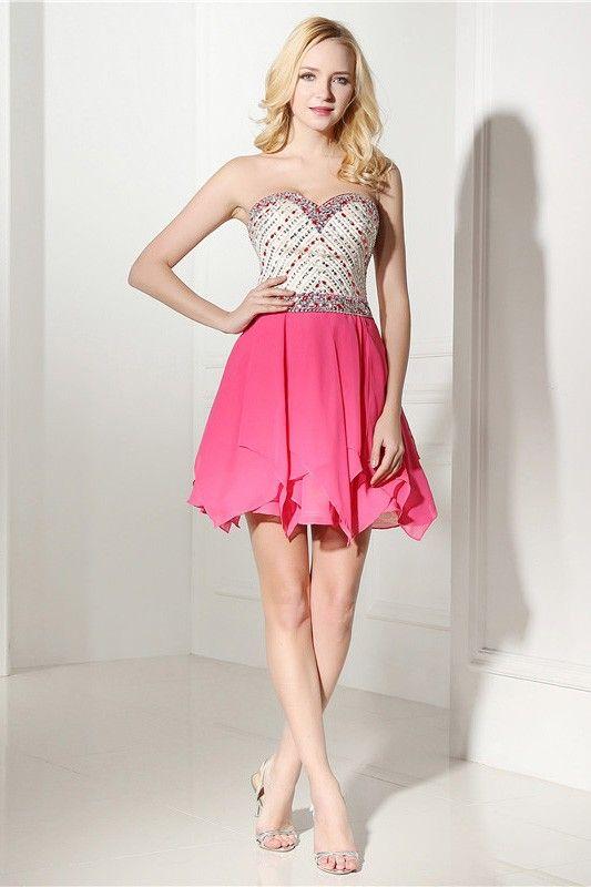 Fuchsia Short Sweetheart Knee-length Prom Dress #C06421 $178 ...