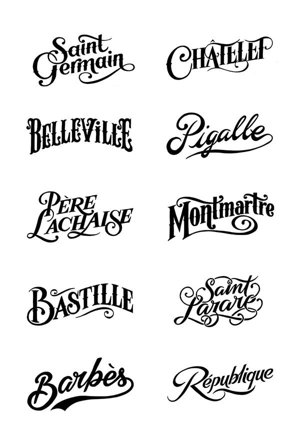 Parisian district stamps for the clothes brand Bleu de Paname by Tyrsa (the work of Alexis Taieb). Very nice lettering!