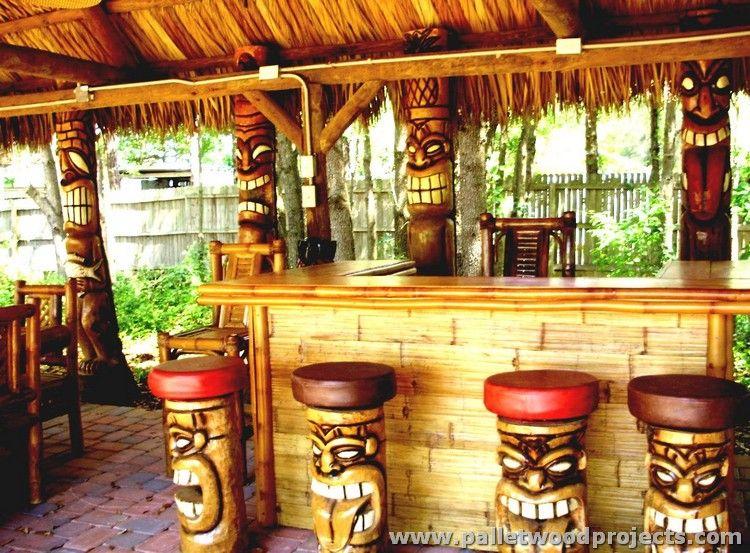 Recycelte Palette Tiki Bar Ideen