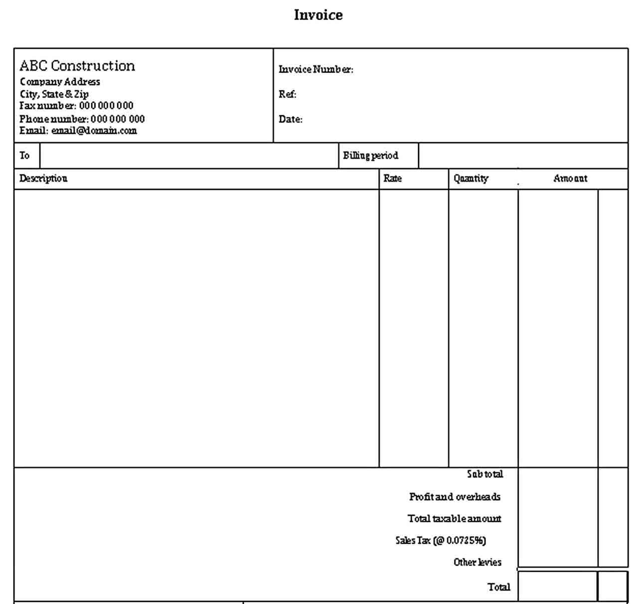 Sample Contractor Receipt Receipt Template Business Template Invoice Template