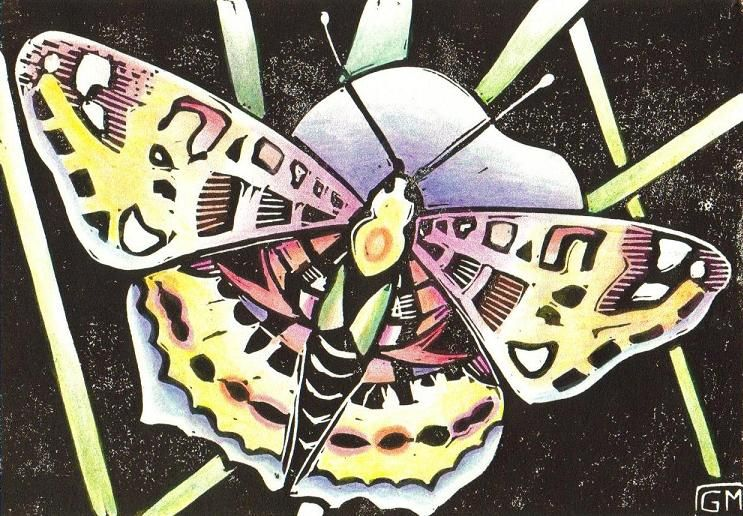 Gabi Meyers Linocuts Red Butterfly Lino Print And Colored Pencil On Paper 8 X