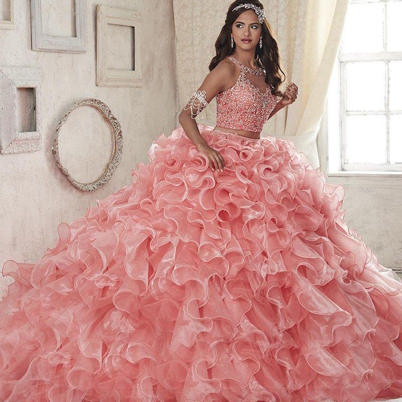 Mode 2 Stück Lange Quinceanera Kleider Scoop Organza Ballkleid Prom ...