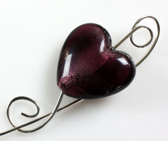 Large Purple Heart Shawl Pin, Scarf Pin, Brooch | Shawl ...
