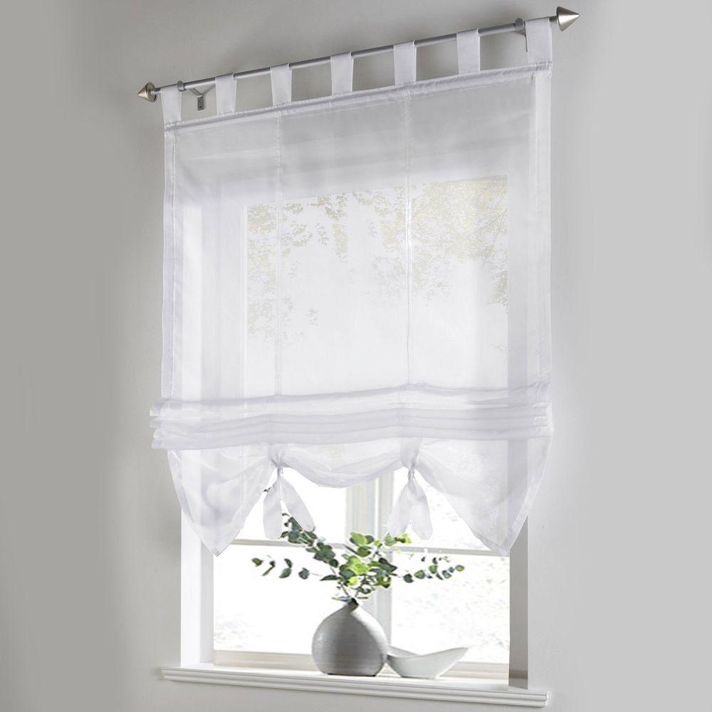 Liftable Roman Curtain Voile Tab Top Windows Curtains Sheer Panel ...