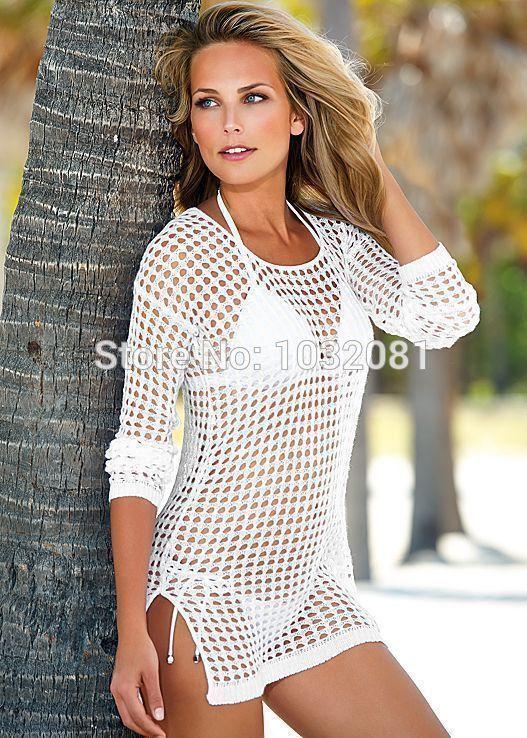 03e23fb32d See through Sheer Sexy women Swimwear dress Crochet cover-ups beach Cover  Up Bikini Cover Ups Knitting Swimsuit vestido V96