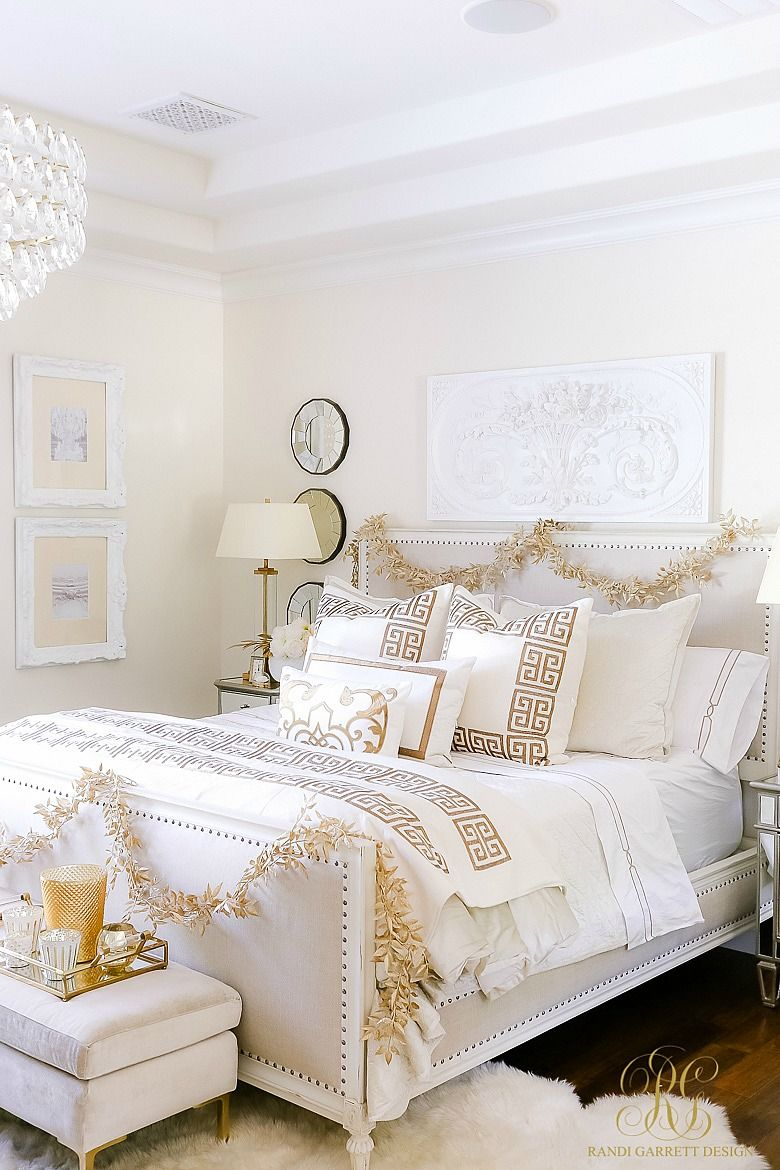 Elegant White And Gold Christmas Bedroom Tour Christmas Bedroom