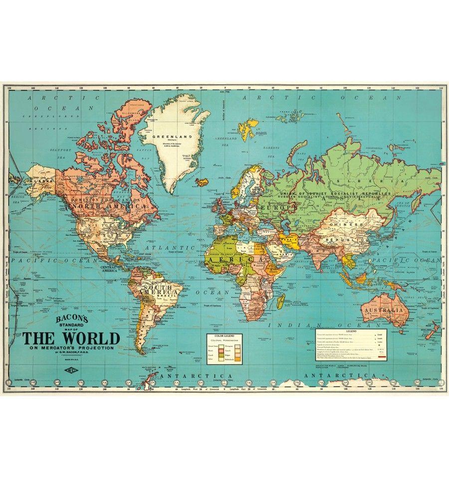 Affiche Carte Du Monde The World Bleue Cavallini Carte Du Monde