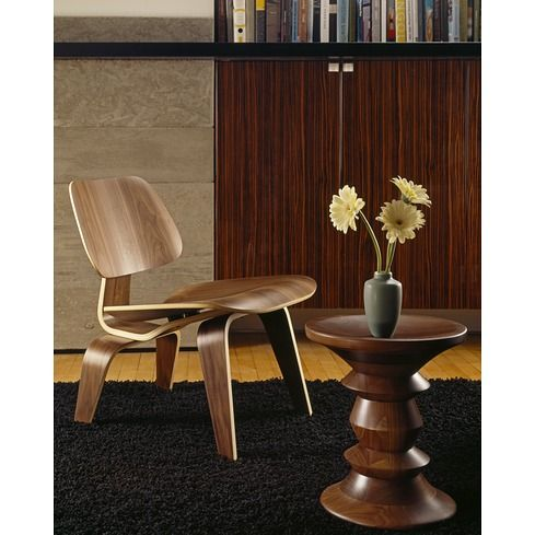 Eames Molded Plywood Lounge Chair & Eames Walnut Stool - Herman Miller