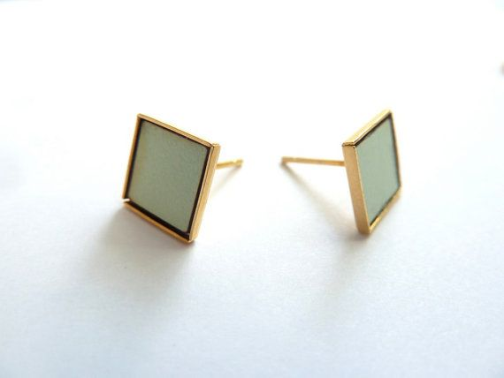 Formica Squares Delicate Earrings in Mint by ShaniJacobiJewellery, $19.00