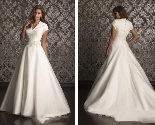 2016 High Quality Satin Wedding Dresses A Line Lace Applique Covered Button Cap Sleeves Cout Train Bridal Gowns New Wedding Dress 2016 Wedding Dress Styles Backless Wedding Dresses From Jovancy, $157.42| Dhgate.Com