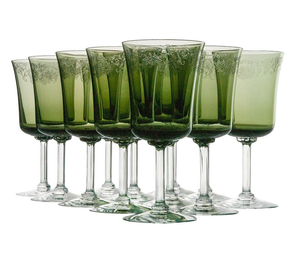 Vintage Fostoria Cameo Green Water Goblets Wine Glasses
