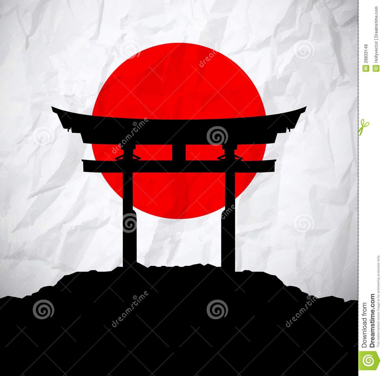 Bandera De Japón Como Salida Del Sol Con La Puerta De Japón Fotos ...