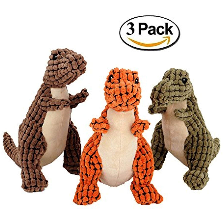 Unizero Pet Dog Squeaky Toy Dinosaur Tuff Chew Toy Pack