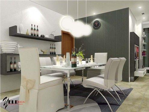White Lavish Dining Room Interiors With Mini Bar Circular Pendant