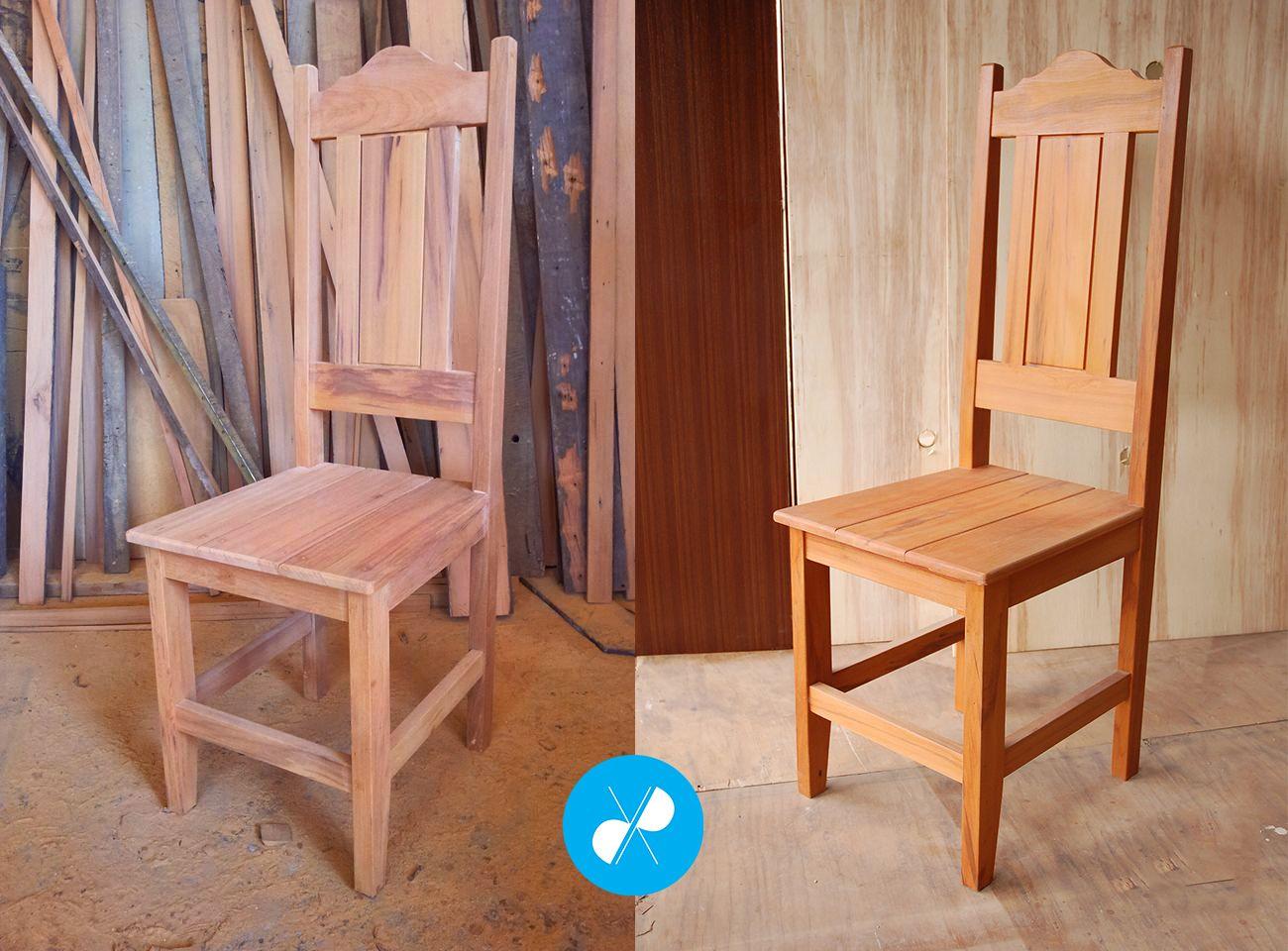 Cadeira para mesa de jantar antes e depois do acabamento em seladora ...