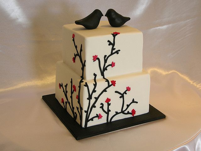 Black and White Vine Wedding Cake by sugar_rush_confections, via Flickr