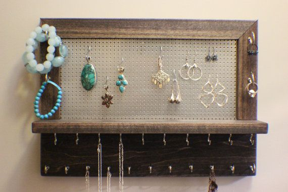 Rustic Dark CherryEbony Stained Wall Mounted Jewelry Organizer